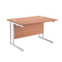 First Rectangular Cantilever Desk 1400mm Beech with White Leg KF838900
