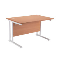 First Rectangular Cantilever Desk 1600mm Beech with White Leg KF838903