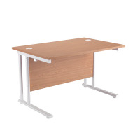 First Rectangular Cantilever Desk 1800mm Oak with White Leg KF838907