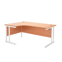 First Radial Left Hand Cantilever Desk 1600mm Beech with White Leg KF838909