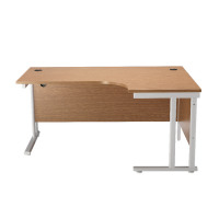 First Radial Right Hand Cantilever Desk 1600mm Oak with White Leg KF838912