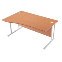 First Wave Left Hand Cantilever Desk 1600mm Beech with White Leg KF838921