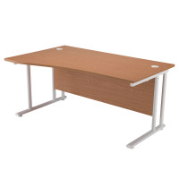 First Wave Left Hand Cantilever Desk 1600mm Oak with White Leg KF838923