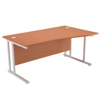 First Wave Right Hand Cantilever Desk 1600mm Oak with White Leg KF838924
