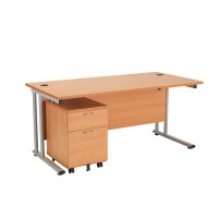 First Rectangular Desk Silver Leg and Pedestal Bundle 1600 and 2 Drawer Under Desk Pedestal Beech