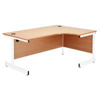 Jemini Maple/White 1200mm Left Hand Radial Cantilever Desk KF839303