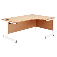 Jemini White/White 1200mm Left Hand Radial Cantilever Desk KF839304