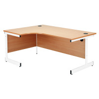 Jemini Maple/White 1200mm Right Hand Radial Cantilever Desk KF839307