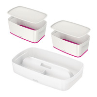 Leitz Mybox Small with Lid Pink (Pack of 2) with Free Tray LZ810794