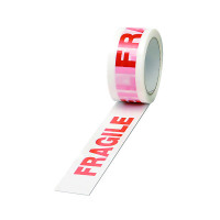 White/Red Polypropylene Fragile Printed Tape 50mmx66m (Pack of 6) PPP-C