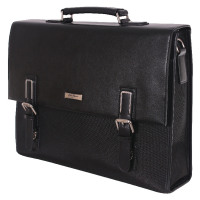 Gino Ferrari Platinum Saturn Flapover Briefcase With Leather Trim GFE012