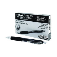 Uni-Ball Signo 207 Retractable Gel Ink Rollerball Pen 0.5mm Line Black (Pack of 12) 9004600