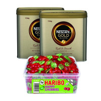 Nescafe Gold Blend Coffee 750g (Pack of 2) Plus FOC Haribo Happy Cherries Tub NL819851