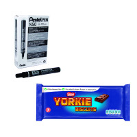 Pentel Permanent Marker Bullet Tip Black Pack of 12 plus Nestle Yorkie Pack FOC PE811461