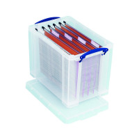 Really Useful 19L Plastic Storage Box With Lid W375xD255xH290mm Clear RUP80213