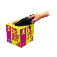 Le Cube Black Tie Handle Refuse Sacks With Dispenser 100 Litre (Pack of 75) 0481