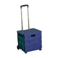 Folding Container Trolley With Lid Blue /Green 379531