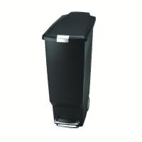 Slim Plastic Pedal Bin 40L Black 382648