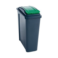 VFM Recycling Bin With Lid 25 Litre Green (Dimensions: W190 x D510 x H400mm) 384284