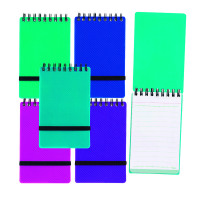 Snopake NoteGuard Wirebound Hardback Notebook 76x127mm Electra Assorted (Pack of 5) 14324