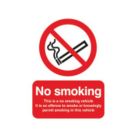 Safety Sign This is a No Smoking Vehicle 100x75mm Self-Adhesive PH05104S