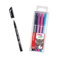 STABILO SENSOR Fineliner Pen Black (Pack of 10) with Free Assorted Fineliners