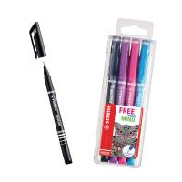 STABILO SENSOR Fineliner Pen Black (Pack of 10) with Free Assorted Fineliners