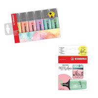 Stabilo Highlighters Assorted Pastel (Pk 6) FOC Pastellove (Pk 3)