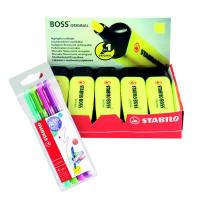 Stabilo Boss Highlighter Yellow (Pack of 10) FOC Fibre Tip Pen (Pack of 4) SS811675