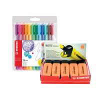 Stabilo Boss Highlighter Orange (Pack of 10) FOC Fibre Tip Pen (Pack of 4) SS811678