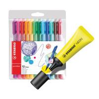 Stabilo Boss Highlighter Neon Yellow (Pack of 10) FOC Fibre Tip Pen (Pack of 4) SS811680