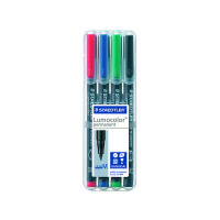 Staedtler Lumocolor Medium Tip Permanent OHP Pen Assorted (Pack of 4) 317-WP4