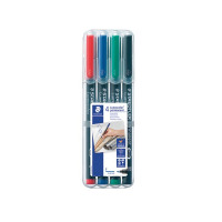 Staedtler Lumocolor Fine Tip Permanent OHP Pen Assorted (Pack of 4) 318-WP4
