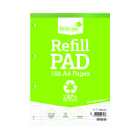 Silvine Punched 4 Hole Recycled Ruled Feint and Margin Refill A4 Pad (Pack of 6) RE4FM-T
