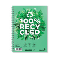 Silvine Recycled A5 Twin Wire Notebook Green 120 Pages (Pack of 5) R103