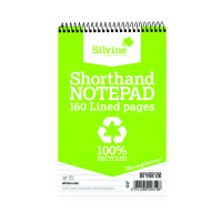Silvine Spiral Bound Shorthand Notebook Recycled 127x203mm 80 Leaf Ruled (Pack of 12) RE160-T