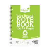 Silvine A4 Everyday Recycled Wiro Notebook 104 Pages Feint Ruled (Pack of 12) TWRE80