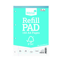 Silvine A4 Refill Pad 4 Hole Punched 160 Pages Feint Ruled With Margin (Pack of 5) FSCRP80