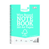 Silvine A4 Twin Wire Notebook 160 Pages Ruled With Margin (Pack of 5) FSCTW80