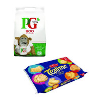 PG One Cup Pyramid Tea Bags (Pack of 1100) Plus Free Biscuits VF819645