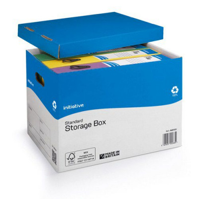 Initiative Standard File Away Archival Storage Box  A4/Foolscap 284w x 383d x 290h mm
