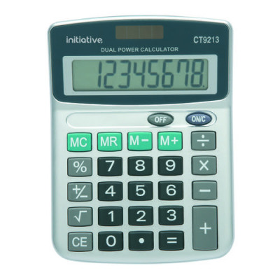 Initiative 8 Digit Semi Desktop Solar Powered Calculator