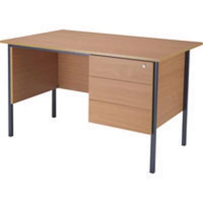 Jemini Bavarian Beech 1200mm Four Leg Desk with Three Drawer Pedestal KF838373