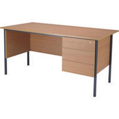 Jemini Bavarian Beech 1500mm Four Leg Desk with Three Drawer Pedestal KF838377