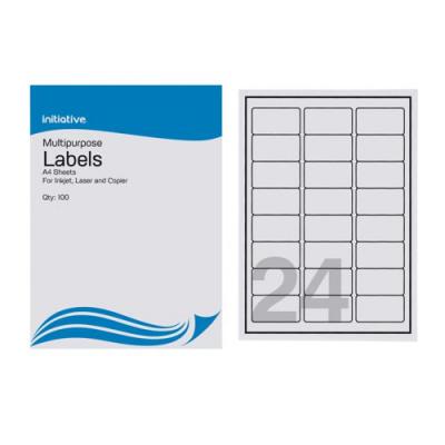 Initiative Multipurpose Labels 63.5 x 33.9mm 24 per Sheet Pack 100