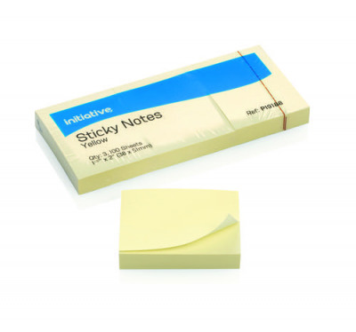 """""""Initiative Sticky Notes 38 x51mm 1.5""""""""x 2"""""""" Yellow """""""
