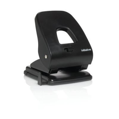 Initiative 2 Hole Punch Heavy Duty Black 40 Sheet Capacity ABS Handle