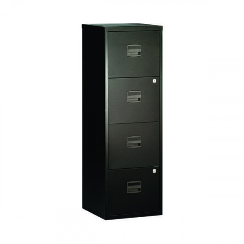 Bisley A4 Personal Filing Cabinet 4 Drawer Black BY31003 - Office ...